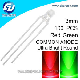 Wholesale Diode 3mm - Wholesale-100pcs Transparent Round Bicolor LED 3mm Bi-color Red Green Common Anode LED Light Emitting Diode Lamp