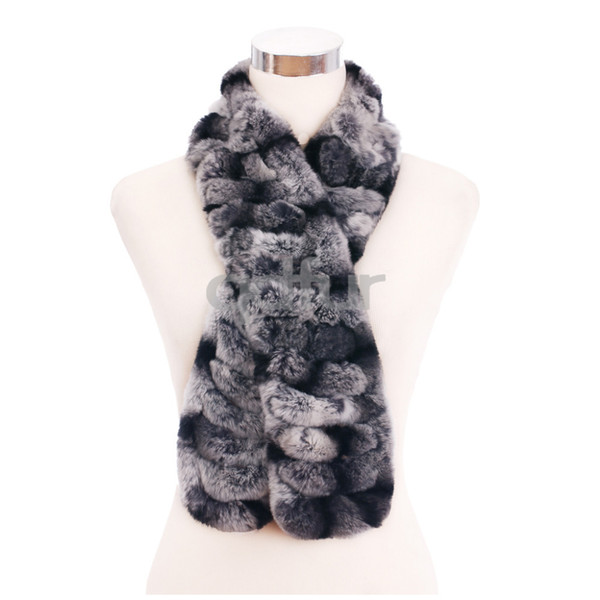 Wholesale-2014 Autumn Lady Genuine Knitted Rex Rabbit Fur Scarves Wraps Winter Women Fur Accessory Neckwarmers Females Neckerchief QD30467