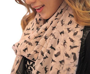 Wholesale Fashion Women Soft Chiffon Colorful Sweet Cartoon Cat Kitten Scarf Graffiti Style Shawl Girls Christmas Gift Fast Shipping