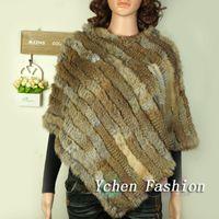 Wholesale knitted rabbit poncho - Wholesale-Hot Sale Knitted Real Rabbit Fur Pashmina Women Rabbit Fur Poncho Autumn Winter Fur Shawls Free Shipping YC001