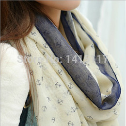 Wholesale Long Voile Scarves - Wholesale-2016 New Arrival Fashion Autumn and Winter Ladies' Nautical Style Anchor Long Scarf Wraps Voile Scarf Scarves Shawl SX-832