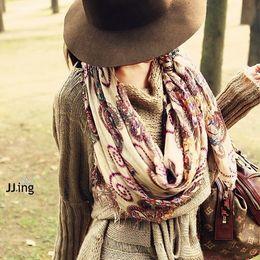 Wholesale geometric style scarves - Wholesale-Cotton voile Geometric Pattern Vintage Women Bohemian Style Scarves Warm Long Soft Scarf Wrap Shawl Winter New
