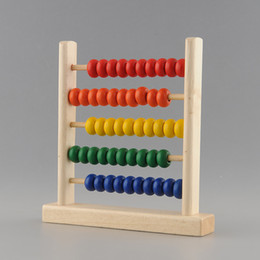Wholesale Math Tool - Wholesale-New Durable Colorful 5-Row Bead Wooden Abacus Child Educationnal Calculate Math Learning Teaching Tool Toy