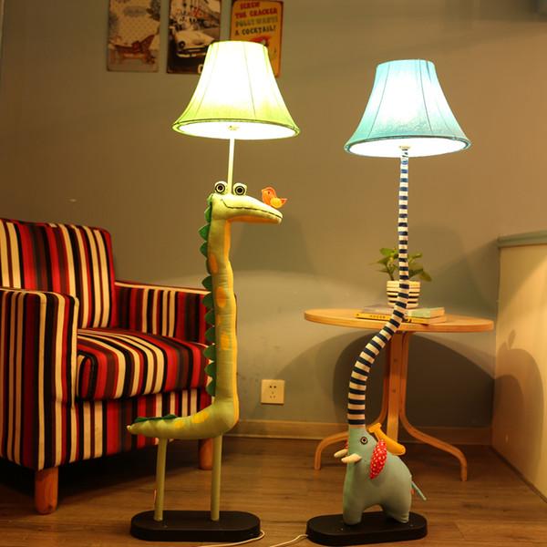 Toptan-Promosyon Kumaş Karikatür Zemin Lambası Güzel Yaratıcı Hayvan Zemin Lambası Yatak Odası Daimi Lambaları Karikatür Fil Zemin Lambası