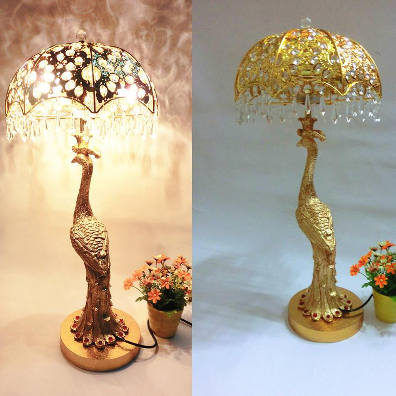 2017 wholesale luxury fashion crystal peacock table lamp quality gold crystal table lamp living. Black Bedroom Furniture Sets. Home Design Ideas