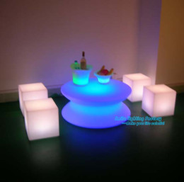 Wholesale Outdoor Led Chair - Wholesale-Free Shipping Creative Outdoor or Indoor Using Party LED Decor Lights Square Table Waterproof Chair Rechargeable Floor Lamp
