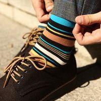 Wholesale Colorful Over Knee Socks - Free shipping 2015 winter men's mens male elite colorful stripe petterned cotton sports sport dress socks sock soks socs for men