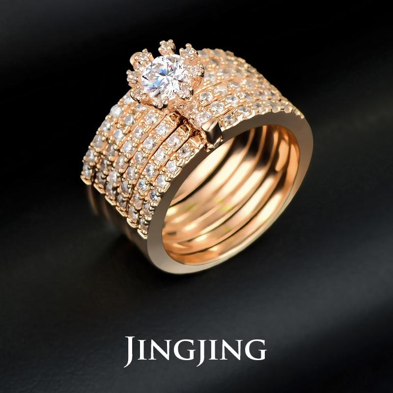 2015 Luxury Design Female Bridal Sets Rings 18k Rose Gold Round