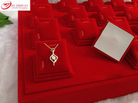 Wholesale Display Cases For Jewellery - Wholesale-Factory Wholsales 6 pcs lot Red Velvet Magnet MDF Stands Holder Tray Cases For Stud Earrings Necklace Pendant Jewellery Display