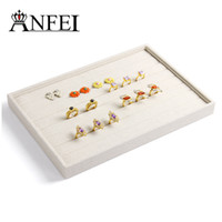 Wholesale High Quality Ring Tray - Wholesale-High quality linen empty plate jewelry box jewelry display box for jewelry organizer ring box tray 35*24*3cm