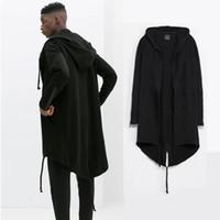 ingrosso progettazione di cappotti neri per gli uomini-Design originale 2015 Nuovo cappotto da uomo di moda con cappuccio a coda di rondine cardigan uomo cappuccio mantello nero tuta sportiva oversize S-XXL