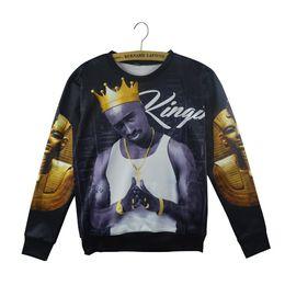 Tupac sweatshirts online-Neue Mode Männer / Frauen Casual Hip Hop 3D Sweatshirt Charakter Drucken Tupac 2Pac Langarm Hoodies Pullover Hip Hop Kleidung