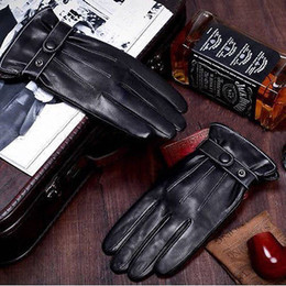 Wholesale Cool Mens Leather Gloves - Wholesale-2015 New Hot Chic Luxury Mens Faux Leather Autumn Winter Warm Cashmere Lining Motor Cycling Cool Gloves M L XL Free Shipping
