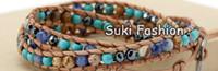 Wholesale Mix Semi Precious Stones - Wholesale-3X Mixed Semi-precious Stone Natural Leather Wrap Bracelet, Hematite Beads Bracelet, Turquoise Bracelet Jewelry