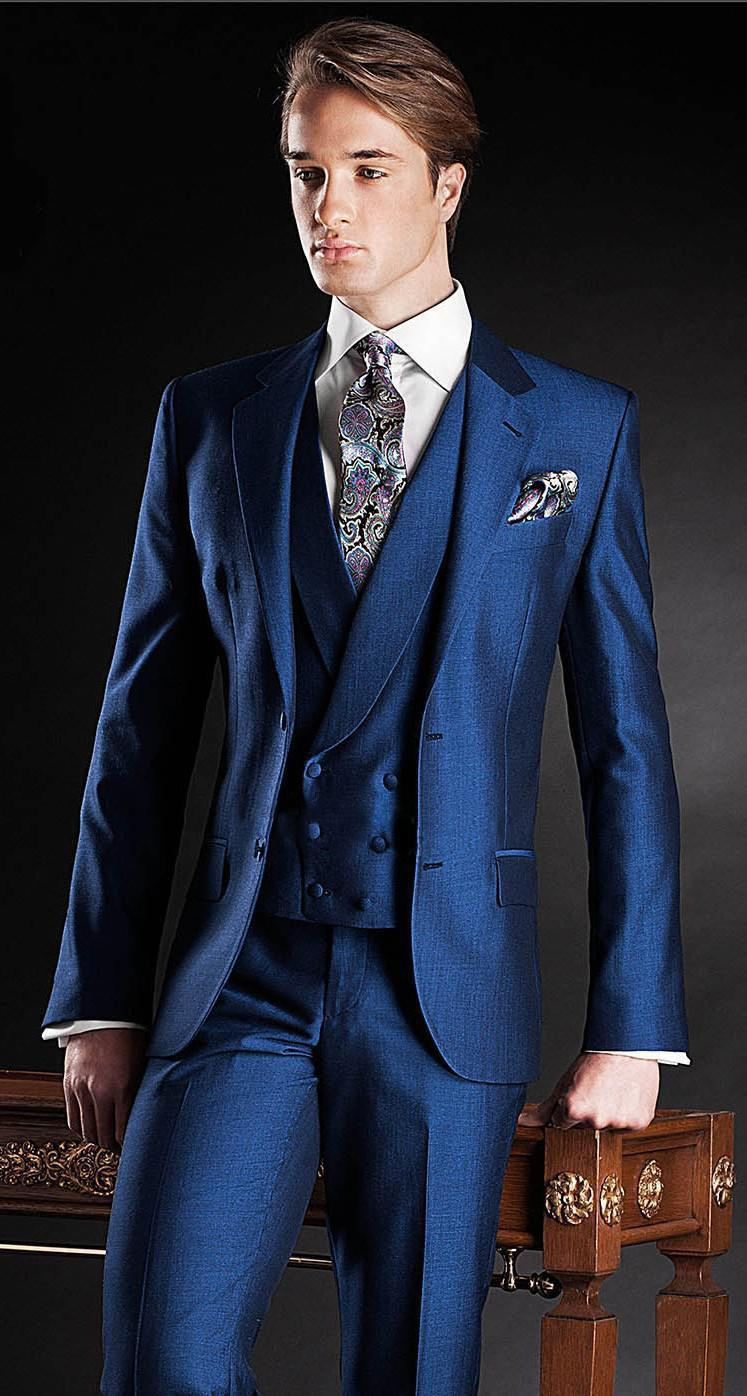 Wholesale Beautiful Nave Blue Morning Suits