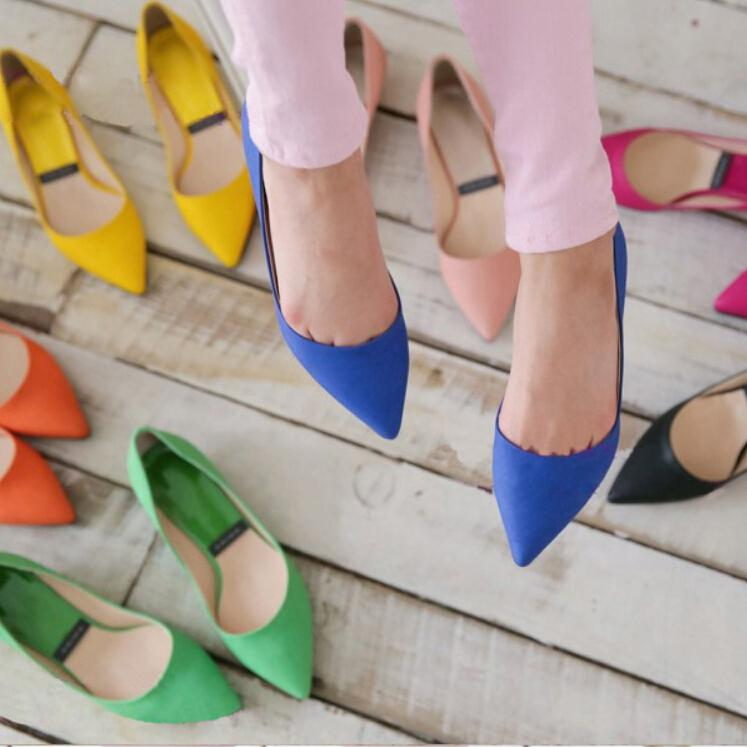Wholesale Womens Yellow Blue Orange Black Hot Pink Suede Pointed Toe ... 1bf8fef463