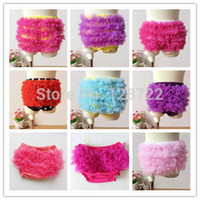 Wholesale-Neugeborenes Baby Shorts Chiffon PP Hosen Solide Ruffle Bloomers Baby-Kleidung Boutique Kindermode Bloomers 60pcs / lot