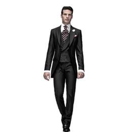 Оптовая Продажа-Новый One Button Черный Жених Смокинги Лучший Человек Жених Мужчины Свадебные Костюмы Жених (Куртка + Брюки + Галстук + Жилет)
