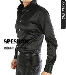 Discount Shiny Silk Shirts Men | 2017 Shiny Black Silk Shirts Men ...