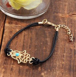 Wholesale Fashion Luck Bracelets - Wholesale-New 2015 Fashion Jewelry Gold Tone Charm Hamsa Hand Good Luck Evil Eye Rope Bracelet