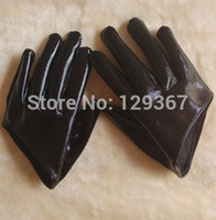 Wholesale Sexy Short Leather Gloves - Wholesale-2015 women's fashion gloves half palm sexy gloves short design black japanned leather glove PU leather motorcycle driving