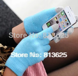 Wholesale Dropship Tablets - Wholesale-Free shipping Touch Gloves with Plastic bags Screen itouch Magic gloves ipad tablet Pure 12colors Winter warm Unisex Dropship