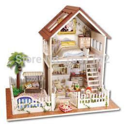 Wholesale Paris Apartment - Wholesale-Paris Apartment DIY Doll house 3D Miniature Wooden assembled LED light+Music box Handmade kits Building model Children toy gift