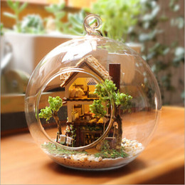 Wholesale Dollhouse Wood - Wholesale-Dream island forest diy glass ball wood model houses assembling dollhouse diy assembling toy kit free shipping