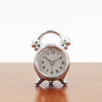 Wholesale Doll Clock - Wholesale-1:12 Dollhouse Furniture Silver Alarm Clock Fashioned LivingRoom Miniature Doll House Accessories Toys