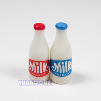 Wholesale-1: 12 2PCS latte bottiglia di plastica bianco Bere Cucina Dollhouse Miniature per Re-ment Orcara