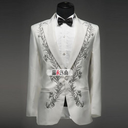 Wholesale Groom Suits China - Wholesale-High Quality Spring Ternos Black  White Blazer Men Cheap China Clothes Mens Suits Wedding Groom Embroidery Tuxedos Custom