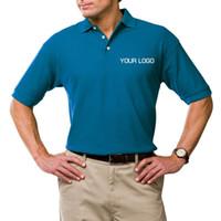 Wholesale Custom Company Logos - Wholesale-Wholesales Retail Cotton Pima Pique Polo For Adult Men Short Sleeve Anti-Shrink Shirts Blank Custom Logo Team Company Gifts