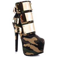 Wholesale High Stiletto Boots - Wholesale-fashion stiletto high heel boots platform Camouflage ankle round toe sequined Gold Buckle Motorcycle shoes zip Free Shipping