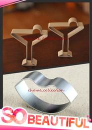 Wholesale Cake Cocktails - Wholesale-Romantic Style Cocktail Glass Cup + Hot Lip Shape Metal Cutter Mold Fondant Cake Cookie Cutters DIY Decorating Mould