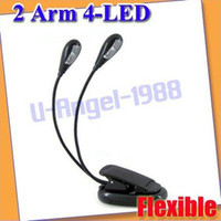 Gros-Dual Arm 4 LED Support flexible livre Laptop Light Lamp + Livraison gratuite!