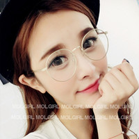 Wholesale Round Metal Match - Wholesale-2015 Korean Hipster Vintage Metal Round Glasses Frame 2944 Thin Wild Match Glasses Female Male