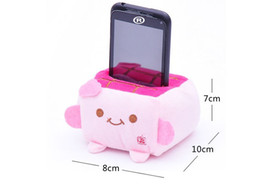 Wholesale Tofu Cell Phone Holder Wholesale - Wholesale-Cartoon tofu cell phone holder plush doll mobile phone cushion lovers gift toy cell phone holder