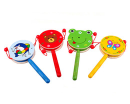 Wholesale Lovely Wooden Cats - Wholesale-Juguetes Shaking Baby Toy Wooden Rattle Drum Brinquedos Lovely Cute Animal Cat Dog Children Playing Toys High Quality
