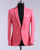 Wholesale 42 Long Suit Blue - Wholesale-(Jacket+Pants)Red, yellow, blue and green long-sleeved men's suits, Suits Wedding Suits Prom Suits   ok201