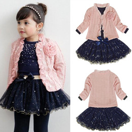 Wholesale Long Skirt Coats - Wholesale New Kids Outfits 3pcs Baby Girls Clothing Sets Coat+T-shirt+Skirt Dress Tutu Princess Kids Clothes Set Suit Pink Costume