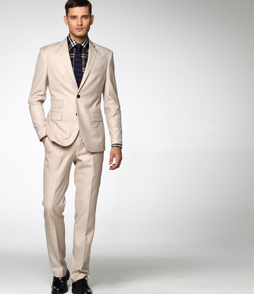 Wholesale-Ivory Wedding Suits For Men Groom Tuxedos Celebrity Colete Masculino Terno Casamento Menino 2015 Summer New Design MBDX497
