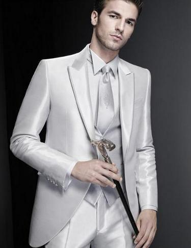 Wholesale-New /Wedding Suits For Men Three Piece Mens Suits For Prom Two Button Groomsmen Suit /Jacket+Pants+Vest+Tie