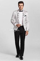 Argentina Venta al por mayor-Un botón adaptado Ajuste de dos piezas Tuxedos boda / Tuxedos 2 piezas Set (chaqueta + pantalones) Prom formal Suministro