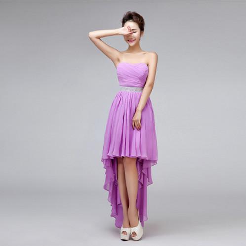 f5e5b67b00 Wholesale-High Low Royal Blue Bridesmaid Dress Crystal High Waist Irregular Swallowtail  Bridesmaid Gown Chiffon Vestido ...