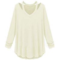 Wholesale Solid Womens Sweatshirts - Wholesale-Sweatshirt 2015 New Womens Long Sleeve V-Neck Loose Casual T Shirt Off The Shoulder Tops Women Hoodies Blusas Hoody Sweatshirts