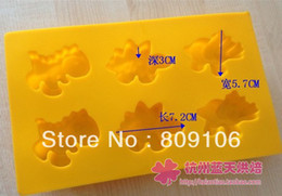 Wholesale Dinosaur Chocolate Moulds - Wholesale ,6 hole Silicone Dinosaur cake mold Ice Cube Tray Chocolate Mould 1 pcs hole:7.2*5.7*3cm,free shipping