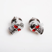 Wholesale Chrome Skull License Plate Frame - Wholesale-4Pcs Chrome Motorcycle Skull Heads   License Plate Tag Frame Bolts With Red Eyes
