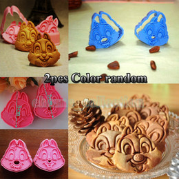 Wholesale Wholesale Fondant Cutters - Wholesale-Cute one pair Chip N Dale Plunger Cookie Fondant Cake Chocolate Decorating Mold biscuit Cutter Baking Tools