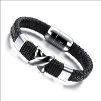 Wholesale Stainless Stell Charms - X mark charm Leather for Men Bracelet Stainless Stell Men Bracelet Magnetic Buckle Men Bracelet Jewelry