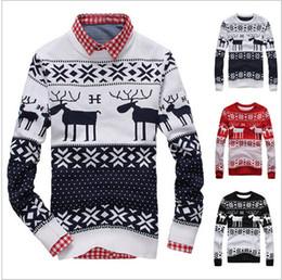 Новые некрасивые рождественские свитера онлайн-Оптовые-новые 2015 Fahion зимние теплые шерстяные трикотажные мужские Ugly рождественские олени свитера Crewneck с длинным рукавом оленин пуловер трикотажные M-XXL